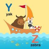 Y-яки письма алфавита, Z-зебра, иллюстрация Стоковые Изображения