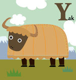 孩子的动物字母表:牦牛的Y 免版税库存图片