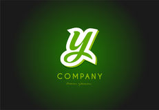 Y alphabet letter logo green 3d company vector icon design Royalty Free Stock Images