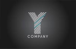 Y alphabet line stripe white blue letter logo icon design Royalty Free Stock Photo