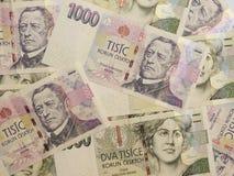 1000 y 2000 billetes de banco checos de la corona Foto de archivo libre de regalías