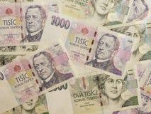 1000 y 2000 billetes de banco checos de la corona Foto de archivo