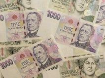 1000 y 2000 billetes de banco checos de la corona Imagen de archivo libre de regalías