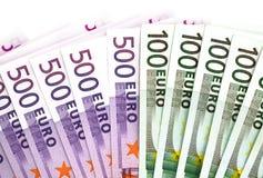 500 y 100 billetes de banco de los euros foto de archivo libre de regalías