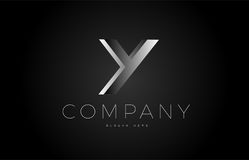 Y black white silver letter logo design icon alphabet 3d Royalty Free Stock Image