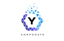 Y Blue Hexagon Letter Logo with Triangles. Y Blue Hexagon Letter Logo Design with Blue Mosaic Triangles Pattern stock illustration