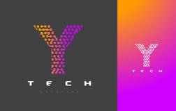 Y-bokstav Logo Technology FörbindelseDots Letter Design Vector Arkivfoton