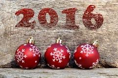 2016 y bolas de la Navidad Imagen de archivo