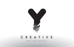 Y Brushed Letter Logo. Black Brush Letters design with Brush str Royalty Free Stock Images
