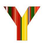 Y-Buchstabe in den bunten Linien auf weißem Hintergrund Stockfotos