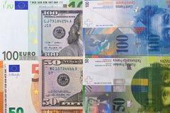 100 y 50 dólares del euro, fondo del franco suizo Imágenes de archivo libres de regalías