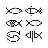 Y de los iconos de los pescados, aislado en el fondo blanco foto de archivo