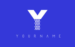 Y Dotted Letter Logo Design with Blue Background. Royalty Free Stock Images
