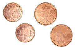 1 y 2 Eurocent Foto de archivo libre de regalías