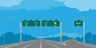 Y-föreningspunkthuvudväg eller motorway och gräsplansignage i dagillustration royaltyfri illustrationer