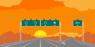 Y-föreningspunkthuvudväg eller motorway och gräsplansignage i surise, solnedgångtidillustration royaltyfri illustrationer