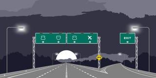 Y-föreningspunkthuvudväg eller motorway och gräsplansignage på nattetidillustrationen stock illustrationer