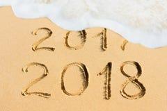 2017 y 2018 - foto del Año Nuevo del concepto Imagenes de archivo