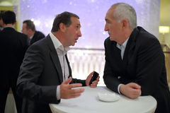 Y.Giner voorzitter van voetbalclub CSKA bij de Verkiezing van de Voorzitter van de Russische Voetbalunie Royalty-vrije Stock Afbeelding