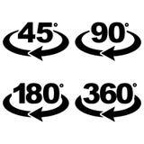 45, 90, 180 y 360 grados ven iconos de la muestra Imagen de archivo libre de regalías