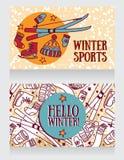 y x22; hola winter& x22; tarjetas, banderas para los juegos del invierno y deportes Foto de archivo libre de regalías