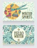 y x22; hola winter& x22; tarjetas, banderas para los juegos del invierno y deportes stock de ilustración