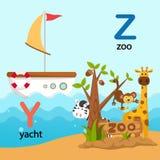 Y-iate da letra do alfabeto, Z-jardim zoológico Imagem de Stock Royalty Free