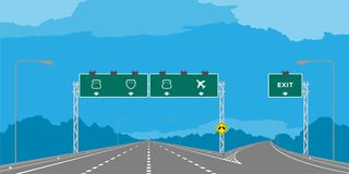 Y junction Highway or motorway and green signage in daytime illustration royalty free illustration
