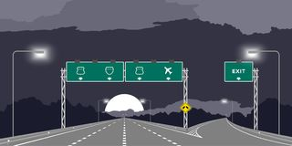 Y junction Highway or motorway and green signage at nighttime illustration stock illustration