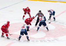 Y. Koksharov (27) and D. Semin (42) on face-off Royalty Free Stock Photography