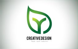 Y Leaf Logo Letter Design with Green Leaf Outline Royalty Free Stock Photography