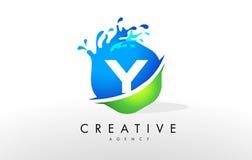 Y Letter Logo. Blue Green Splash Design Vector Stock Photography