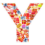 Y Letter  made of giftboxes Royalty Free Stock Photo