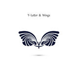 Y-letter sign and angel wings.Monogram wing vector logo template Royalty Free Stock Image