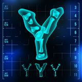 Y Letter Vector. Capital Digit. Roentgen X-ray Font Light Sign. Medical Radiology Neon Scan Effect. Alphabet. 3D Blue. Light Digit With Bone. Medical, Pirate Royalty Free Stock Images