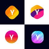Y letter vector company icon signs flat symbols logo set Royalty Free Stock Image
