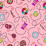 Y linda vector inconsútil dibujado mano colorida del modelo del caramelo del estilo dulce del vintage imagen de archivo