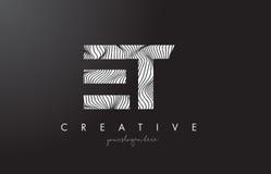 Y logotipo de la letra de E T con las líneas vector de la cebra del diseño de la textura Foto de archivo libre de regalías