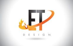 Y logotipo de la letra de E T con las llamas diseño del fuego y la naranja Swoosh Imágenes de archivo libres de regalías