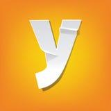 Y lowercase letter fold english alphabet New design Royalty Free Stock Image