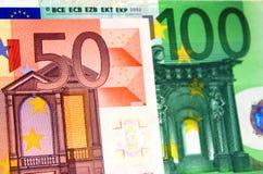 50 y 100 notas euro Imágenes de archivo libres de regalías