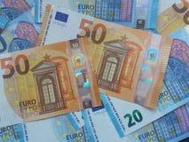 50 y 20 notas euro, unión europea Fotos de archivo libres de regalías