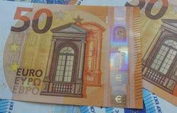 50 y 20 notas euro, unión europea Imagen de archivo libre de regalías