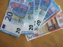 50 y 20 notas euro, unión europea Imágenes de archivo libres de regalías