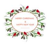Y roja Feliz Navidad y Feliz Año Nuevo dibujadas mano verde, cardenales de la bandera de la tipografía del abeto stock de ilustración