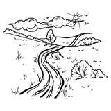 Y schilderde landelijk die landschap op witte achtergrond wordt geïsoleerd Royalty-vrije Stock Fotografie