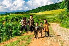 Y TY, Etniczni dzieci ono cieszy się podczas gdy rodzice pracują na tarasach LAOCAI WIETNAM, WRZESIEŃ - 6, 2014 - Obraz Stock