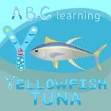 Y is voor Yellowfish-overzees van de tonijn vectorillustratie Geel en blauw gestreept dierlijk realistisch karakter met lange vin Stock Foto