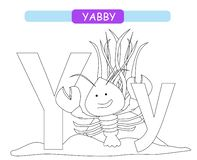 Letter Y and funny cartoon yabby. Coloring page. Animals alphabet a-z. Cute zoo alphabet in vector for kids learning English vocab. Ulary royalty free illustration