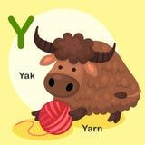 Y-yacs animales de la letra del alfabeto del ejemplo, hilado Foto de archivo libre de regalías